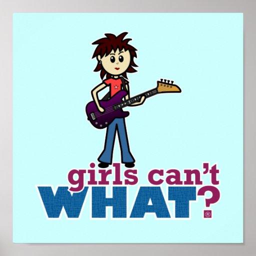 Girl Bass Guitar Player Print