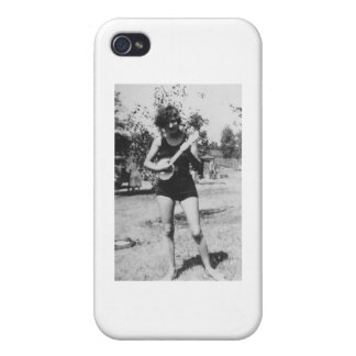 Girl bathing suit beauty playing banjo 1920's case for iPhone 4