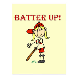 Girl Batter Up Tshirts and Gifts Postcards