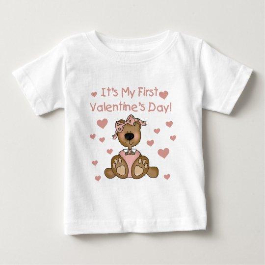 Girl Bear 1st Valentine's Day Baby T-Shirt