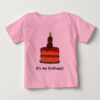 girl bear on Birthday cake t-shirt