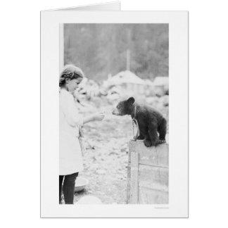 Girl & Bear Seward, Alaska 1912 Greeting Card