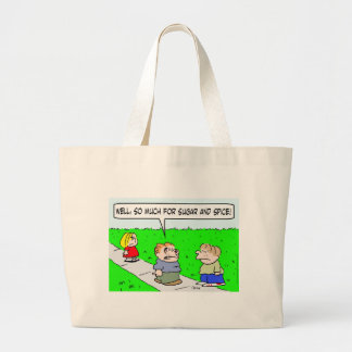 girl beat up sugar and spice tote bags