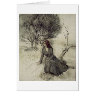 Girl Beside a Stream (Blank Inside) Card