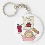 Girl Best Teacher Basic Round Button Key Ring