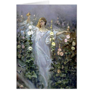 Girl Between Hollyhocks - Wilhelm Kotarbinski Cards