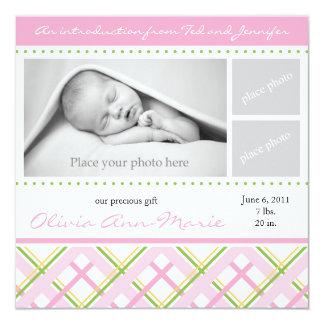 Girl Birth Announcement - Photo Card