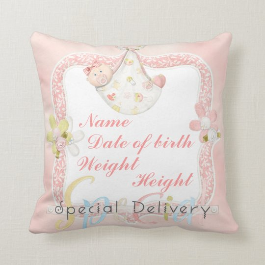 Girl birth announcement pillow