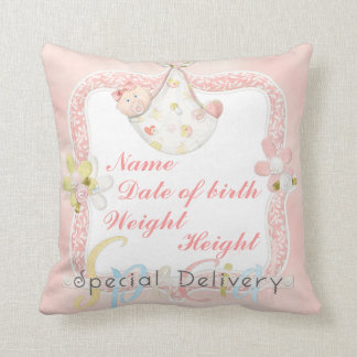 Girl birth announcement pillow throw cushion