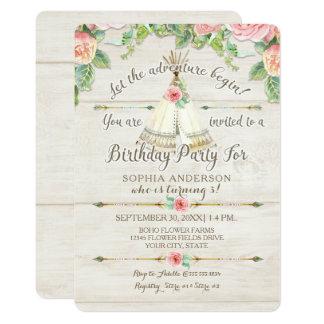 Girl Birthday Adventure BOHO Teepee Arrow Wood Card