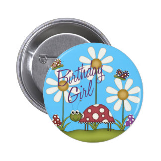 Girl Birthday Bugs Buttons