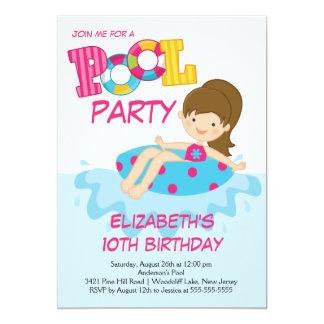 "Girl Birthday Summer Pool Party Invitation 5"" X 7"" Invitation Card"