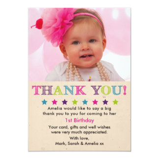 Girl birthday thank you card