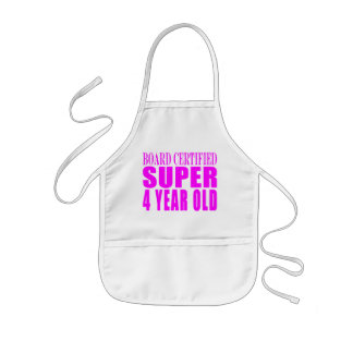 Girl Birthdays Board Certified Super Four Year Old Kids' Apron