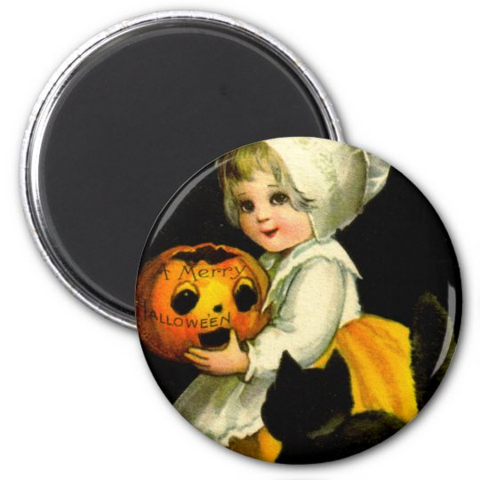 Girl & Black Cat 6 Cm Round Magnet