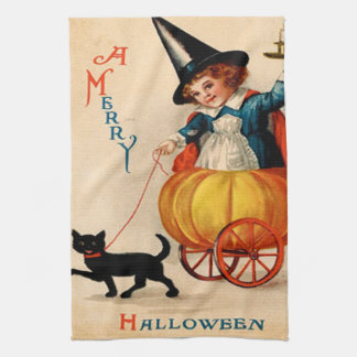 Girl & Black Cat Tea Towels