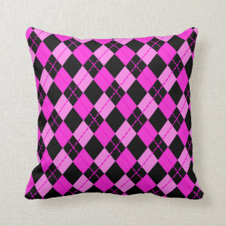 Girl Black &  Pink Argyle Pattern Cushion