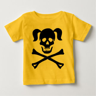 Girl Black Skull and Crossbones With Pigtails Baby T-Shirt