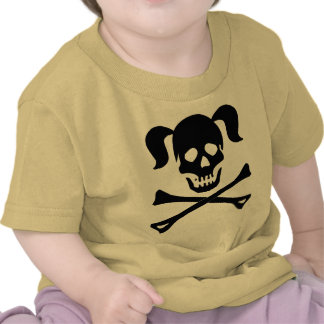 Girl Black Skull and Crossbones With Pigtails Tees