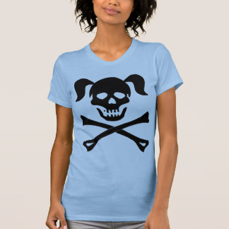 Girl Black Skull With Pigtails Light Color Woman Tanktops