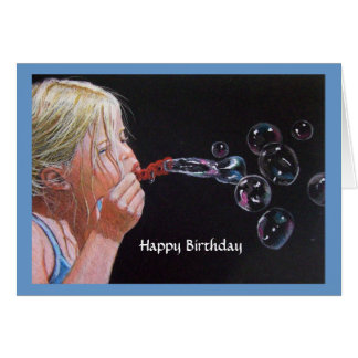 GIRL BLOWING BUBBLES BIRTHDAY: Drawing Greeting Card