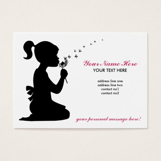 Girl Blowing Dandelion Business Card