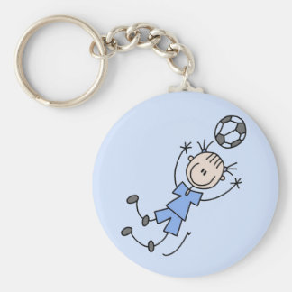 Girl Blue Soccer Uniform Tshirts and Gifts Basic Round Button Key Ring