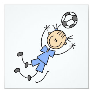 Girl Blue Uniform Soccer Player T-shirts and Gifts 13 Cm X 13 Cm Square Invitation Card