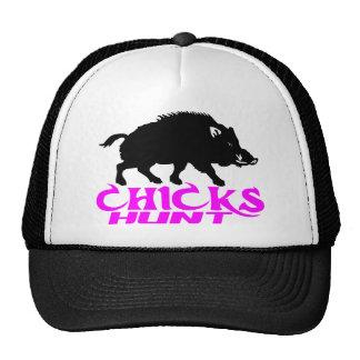 GIRL BOAR HUNTING TRUCKER HAT