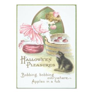 Girl Bobbing For Apples Black Cat 13 Cm X 18 Cm Invitation Card