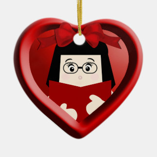 Girl Book Lover Kids Heart Ornament 2