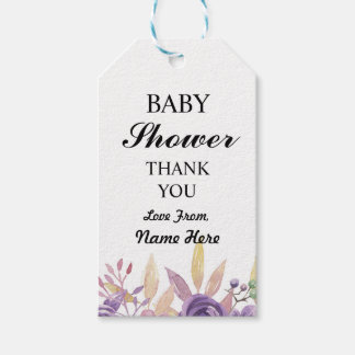 Girl Boy Thank You Baby Shower Floral Flowers Tags