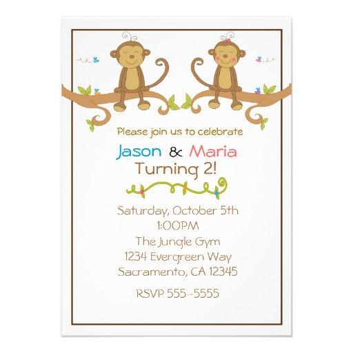 Girl Boy Twin Party Baby Shower Monkey Invitations