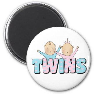 Girl & Boy TWINS 6 Cm Round Magnet