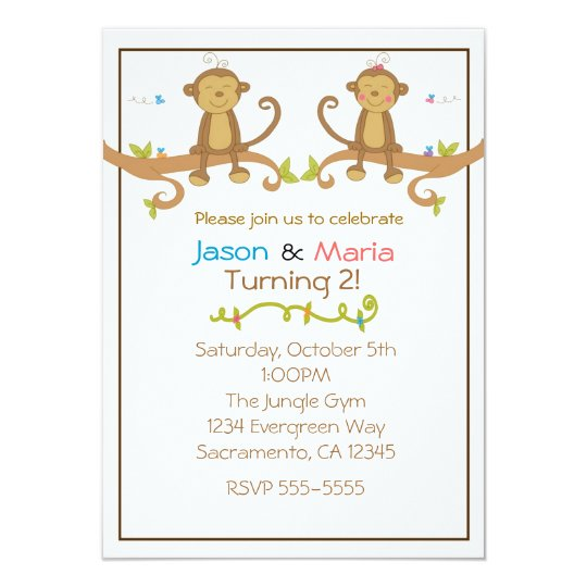 Girl Boy Twins Party Baby Shower Monkey Invitation