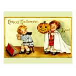 Girl & Boy Vintage Image Halloween Pumpkin & Ghost Postcard