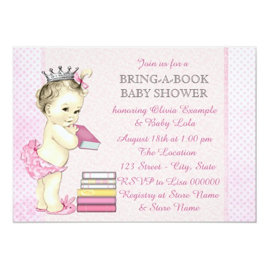 Girl Bring a Book Baby Shower Card
