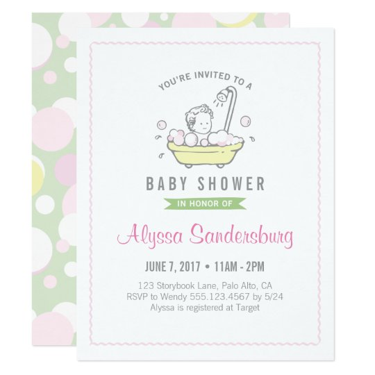 Girl Bubble Bath Baby Shower Invitation