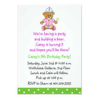 "Girl Build a Bear Invitation 5"" X 7"" Invitation Card"