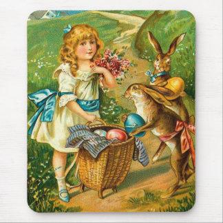 Girl & Bunnies Floral Vintage Easter Landscape Mouse Pad