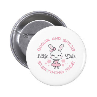GIRL BUNNY SUGAR AND SPICE 6 CM ROUND BADGE