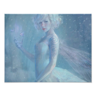Girl Butterfly Painting When Blonde Snow Winter Poster