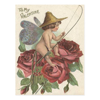Girl Butterfly Wings Fishing Reel Rose Postcard