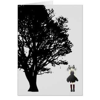 Girl by Tree Greeting Card