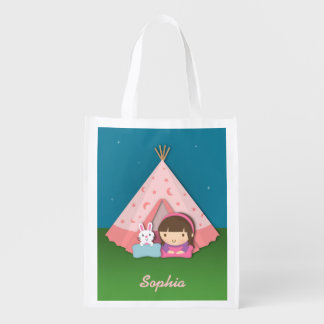 Girl Camping Teepee Tent Bunny