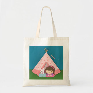 Girl Camping Teepee Tent Bunny Budget Tote Bag