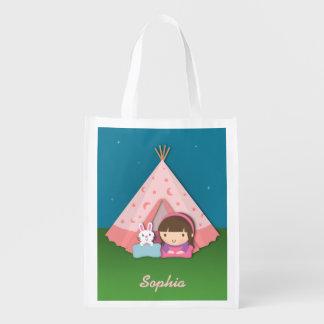 Girl Camping Teepee Tent Bunny Reusable Grocery Bag