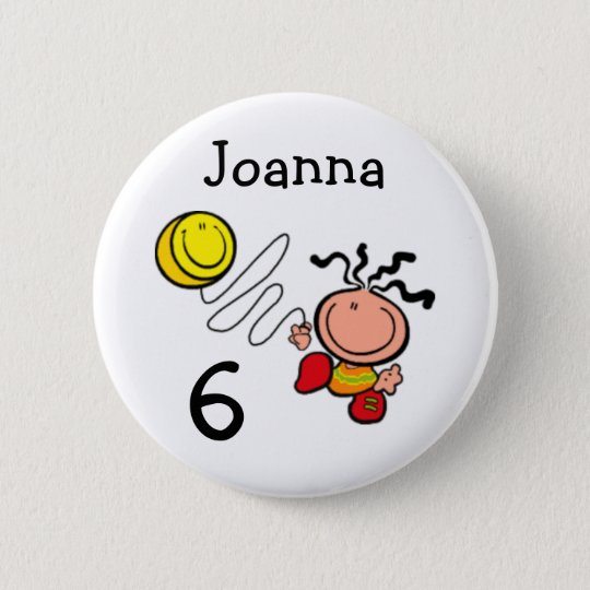 Girl cartoon birthday name and age Button