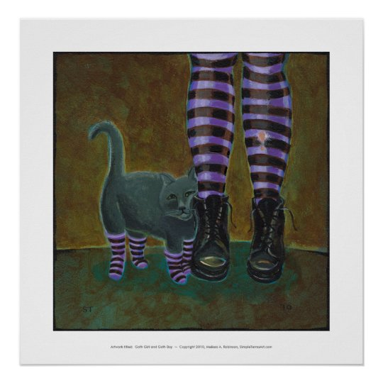 Girl cat boots striped socks fun witch goth