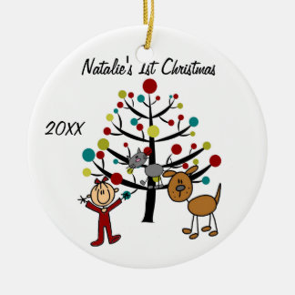 Girl, Cat, Dog 1st Christmas Customized Ornament